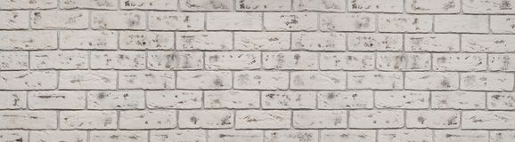 Vintage white wash brick wall texture for design. Panoramic background for your text or image stock photos