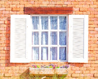 Vintage white window. On red brick wall Royalty Free Stock Photography