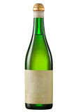 Vintage white wine bottle  with blank label. Stock Image