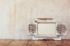 Vintage white wodden frame with shutters. ready template Stock Photo