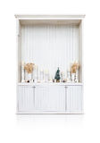 Vintage white wooden cabinet shelf with ornament Stock Images