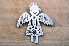 Vintage white wooden Christmas ange. L decoration on wooden background Stock Photos