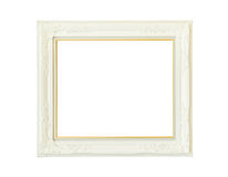 Vintage white wooden picture frame isolated Royalty Free Stock Photography