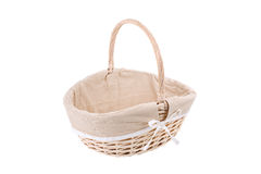 Vintage wicker basket isolated on white background Stock Images