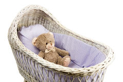 Vintage wicker crib Stock Photos