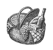 Vintage wicker picnic hamper or basket with food such as bottle of wine, cheese, bunch grapes, loaf. Sketch vector Royalty Free Stock Photos