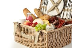 Free Vintage Wicker Picnic Hamper Filled With Food Stock Photo - 120455650