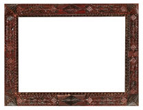 Vintage wide carved wooden picture frame Stock Images