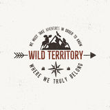 Vintage wild emblem. Retro illustration of wilderness . Typography and rough style. Vector logo or badge with stock illustration
