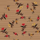 Vintage Wild Flower on hand drawing stripes seamless pattern vec. Tor for fashion fabric,wallpaper and all prints on trendy brown background Royalty Free Stock Images