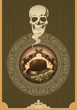 Vintage wild west poster. Vintage wild west poster with skull Stock Photo