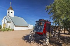 Vintage Stage Coach and Catholic Church Apache Trail Arizona USA stock images
