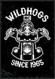 Vintage wildhog motorcycle club mascot in grunge texture style Royalty Free Stock Photos