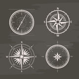 Vintage wind rose compasses in set.  vector chalk drawn Stock Photography