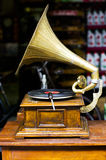 Vintage wind-up gramophone. Record player royalty free stock photography