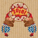 Vintage wind-up toy monkey with timpani and red hubcap. Vector retro illustration Royalty Free Stock Photography
