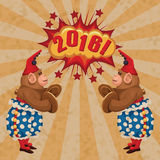 Vintage wind-up toy monkey with timpani and red hubcap. Vector retro illustration Stock Image