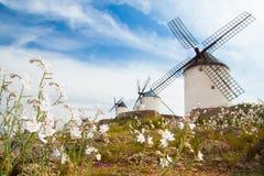 Vintage windmills in La Mancha. Stock Image