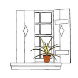 Vintage window with blooming flowers in pot. On white backgroundrn stock illustration