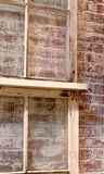 Vintage Window Brick Background Texture. A distressed vintage window and brick background texture Royalty Free Stock Image