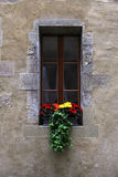 Vintage window with flowers and window box Royalty Free Stock Images