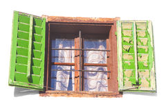 Vintage window with green shutters Stock Photography