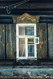 Vintage window and old stone wall textured  wallpaper background Royalty Free Stock Photography