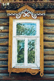 Vintage window and old stone wall textured  wallpaper background Stock Photo