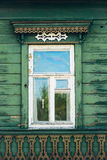 Vintage window and old stone wall textured  wallpaper background Royalty Free Stock Image