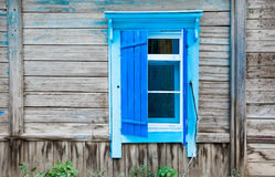 Vintage window of a old wooden house in Russia Stock Photo