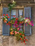 Vintage window with open wooden shutters. And fresh flowers Stock Photo