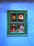 Vintage window in small medieval house, Prague. royalty free stock images