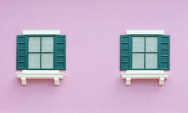 Vintage window with wall background Stock Images