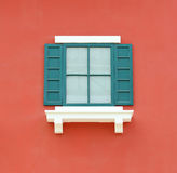 Vintage window with wall background Royalty Free Stock Photo