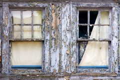 Vintage windows. Old windows with peeled paint Royalty Free Stock Images