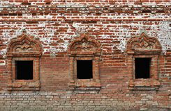 Vintage windows in ancient monastery Stock Photography