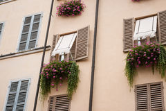 Vintage windows with open wooden shutters Royalty Free Stock Photography