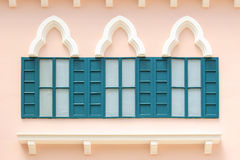 Vintage windows on the pink wall Stock Photo