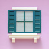 Vintage windows on the pink wall Stock Images
