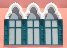 Vintage windows on the pink wall. Background Stock Images
