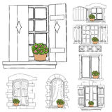 Vintage windows set with flowers in the pot. On white background royalty free illustration