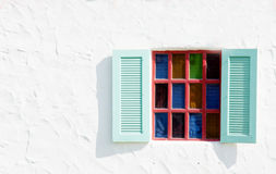 Vintage windows on white cement wall Royalty Free Stock Images