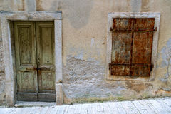 Vintage windows with wood shutters Royalty Free Stock Image