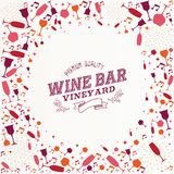 Vintage wine bar list illustration background Royalty Free Stock Image