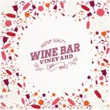 Vintage wine bar list illustration background Royalty Free Stock Image