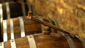 Vintage wine barrel in cellar stock images
