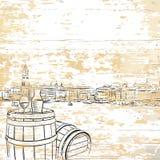 Vintage wine barrel on wooden background royalty free illustration