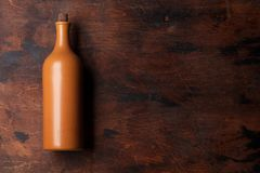 Vintage wine bottle. On wooden table. Top view with space for your text royalty free stock photos