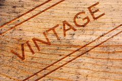 Vintage Wine Box. Vintage burned onto a moldy wooden wine box royalty free stock image