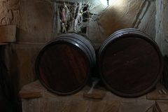 Vintage wine cellar cask wine and alcohol. Vintage wine cellar cask wine and stock image